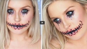 Stitched Up Mouth Doll Halloween Makeup Tutorial