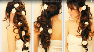 ELEGANT SIDE-SWEPT CURLS WEDDING PROM HAIRSTYLES TUTORIAL | CURLY BRIDAL UPDO FOR LONG HAIR